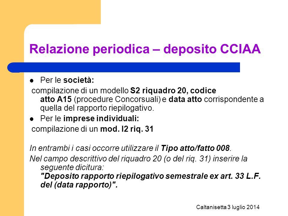 Caltanisetta 3 luglio 2014 Relazione periodica – deposito CCIAA Per le società: compilazione di un modello S2 riquadro 20, codice atto A15 (procedure