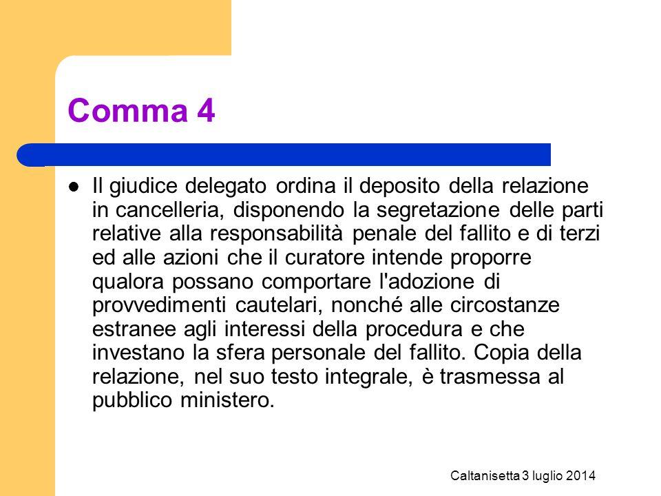 Caltanisetta 3 luglio 2014 Comma 4 Il giudice delegato ordina il deposito della relazione in cancelleria, disponendo la segretazione delle parti relat
