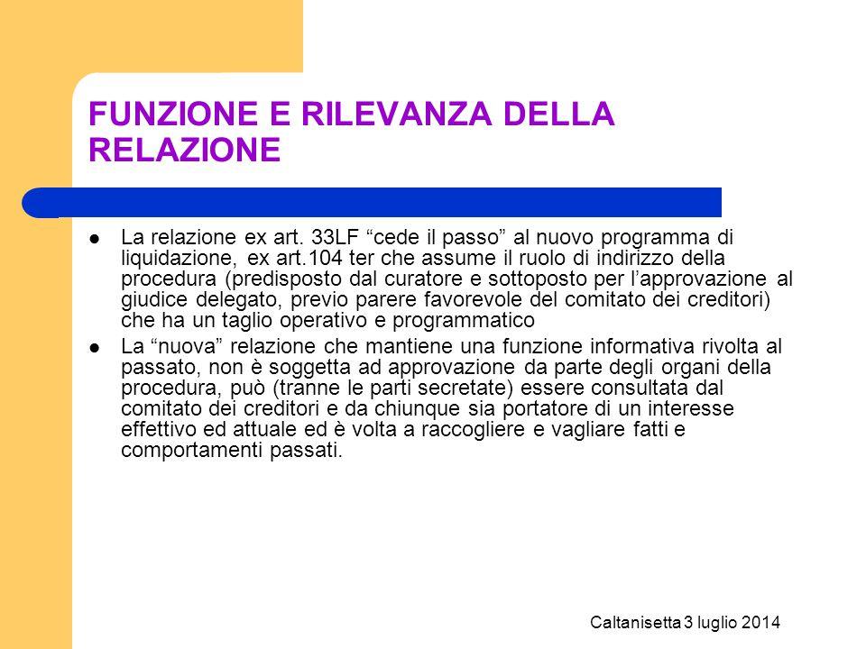Caltanisetta 3 luglio 2014 Relazione periodica – deposito CCIAA Per le società: compilazione di un modello S2 riquadro 20, codice atto A15 (procedure Concorsuali) e data atto corrispondente a quella del rapporto riepilogativo.