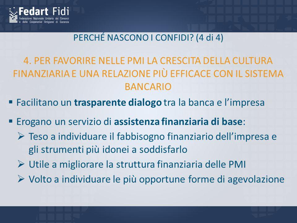PERCHÉ NASCONO I CONFIDI? (4 di 4)  Facilitano un trasparente dialogo tra la banca e l'impresa  Erogano un servizio di assistenza finanziaria di bas