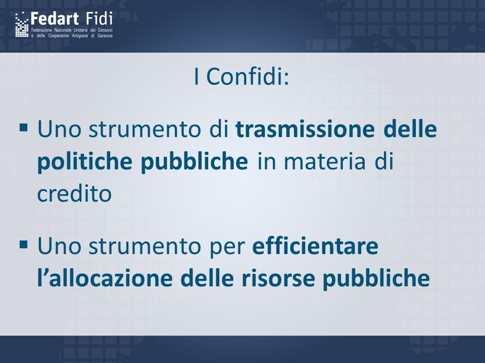 I Confidi:  Uno strumento di trasmissione delle politiche pubbliche in materia di credito  Uno strumento per efficientare l'allocazione delle risorse pubbliche