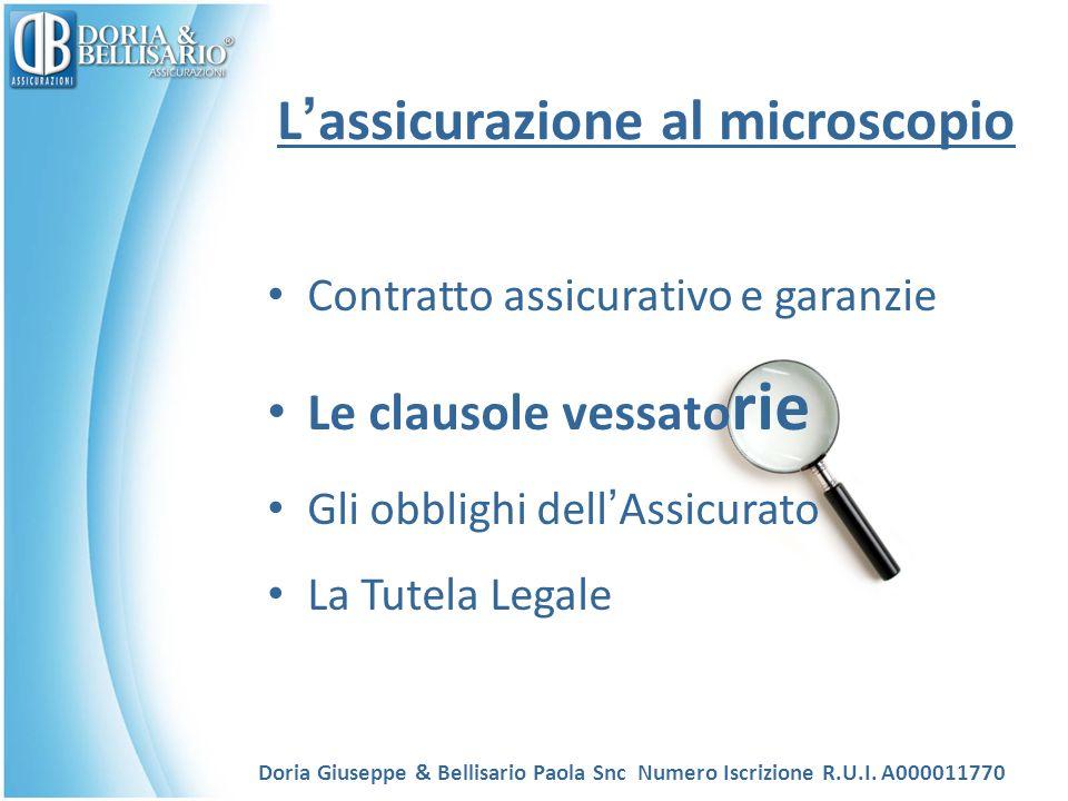 L ' assicurazione al microscopio Contratto assicurativo e garanzie Le clausole vessato rie Gli obblighi dell ' Assicurato La Tutela Legale