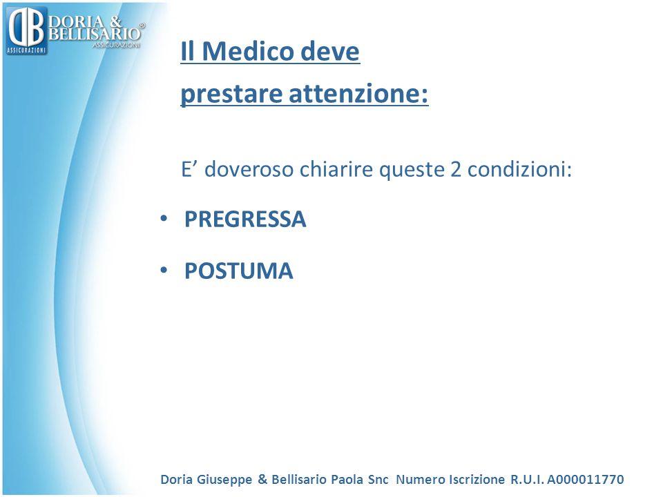 Il Medico deve prestare attenzione: E' doveroso chiarire queste 2 condizioni: PREGRESSA POSTUMA Doria Giuseppe & Bellisario Paola Snc Numero Iscrizion