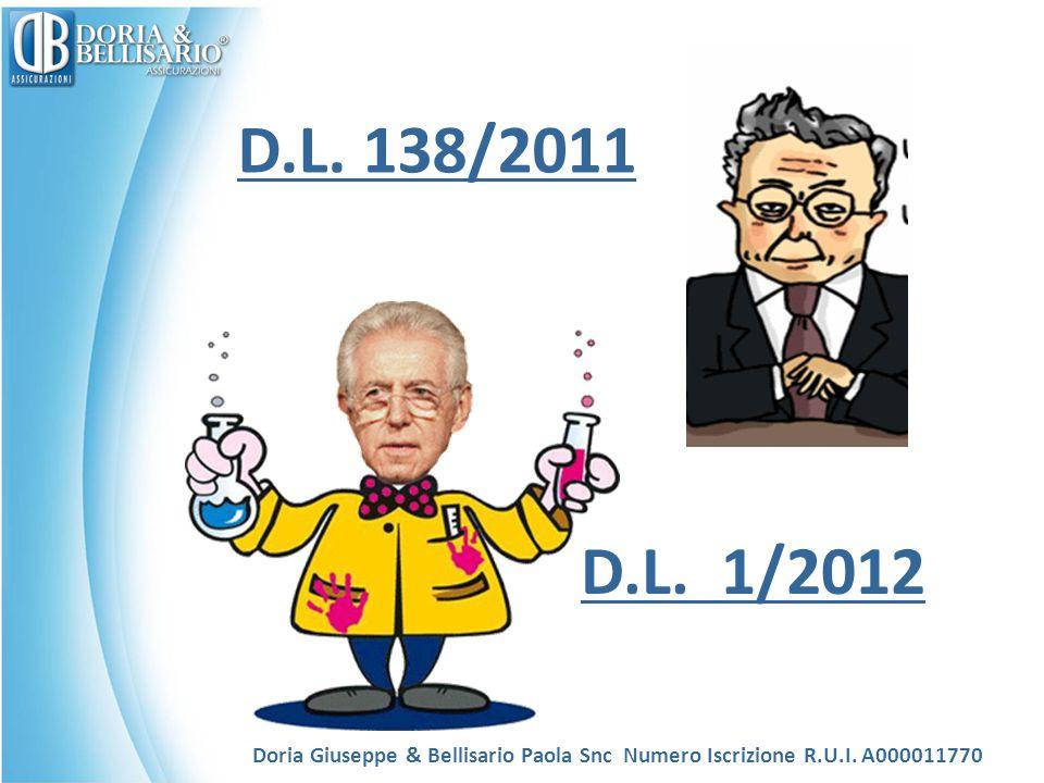 D.L. 138/2011 Doria Giuseppe & Bellisario Paola Snc Numero Iscrizione R.U.I. A000011770 D.L. 1/2012
