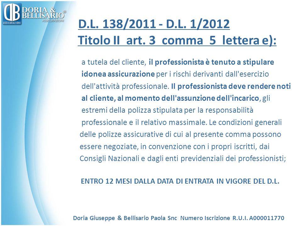 D.L. 138/2011 - D.L. 1/2012 Titolo II art. 3 comma 5 lettera e): a tutela del cliente, il professionista è tenuto a stipulare idonea assicurazione per