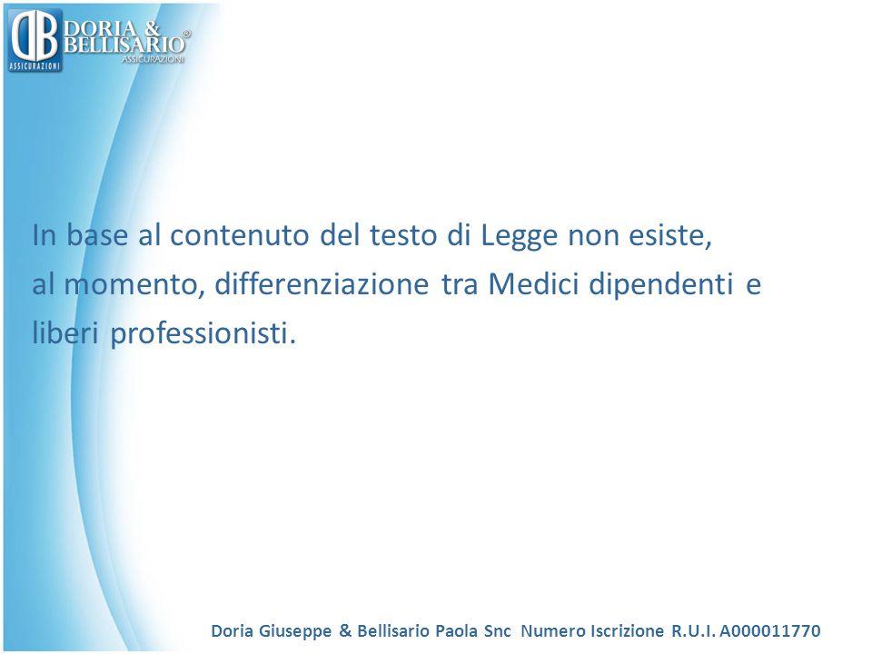 In base al contenuto del testo di Legge non esiste, al momento, differenziazione tra Medici dipendenti e liberi professionisti. Doria Giuseppe & Belli