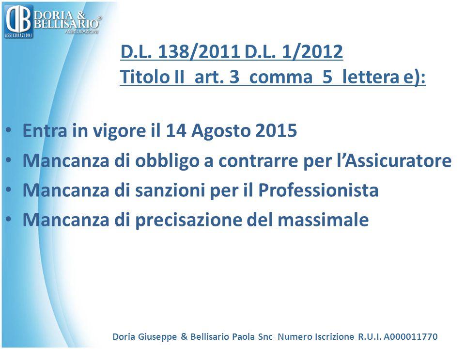 D.L. 138/2011 D.L. 1/2012 Titolo II art. 3 comma 5 lettera e): Entra in vigore il 14 Agosto 2015 Mancanza di obbligo a contrarre per l'Assicuratore Ma