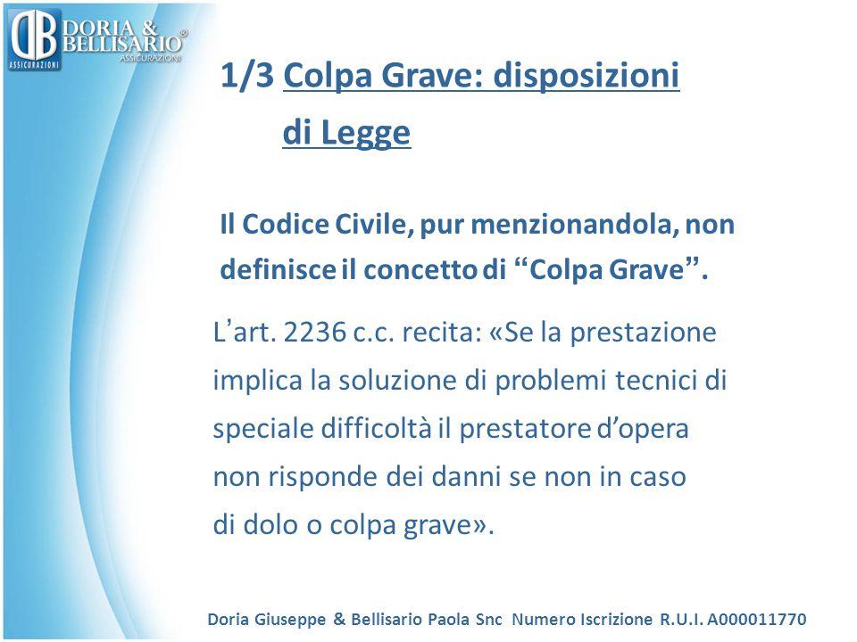"""1/3 Colpa Grave: disposizioni di Legge Il Codice Civile, pur menzionandola, non definisce il concetto di """" Colpa Grave """". L ' art. 2236 c.c. recita: «"""