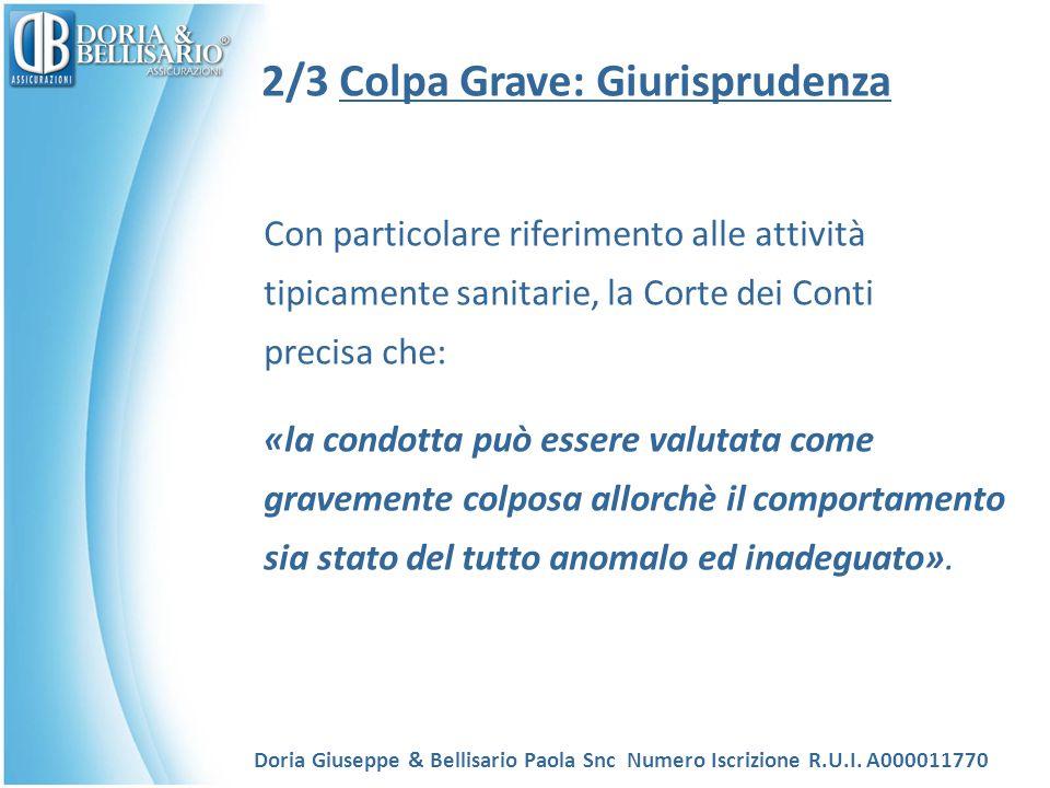 2/3 Colpa Grave: Giurisprudenza Con particolare riferimento alle attività tipicamente sanitarie, la Corte dei Conti precisa che: «la condotta può esse