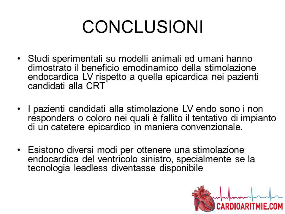 CONCLUSIONI Studi sperimentali su modelli animali ed umani hanno dimostrato il beneficio emodinamico della stimolazione endocardica LV rispetto a quel