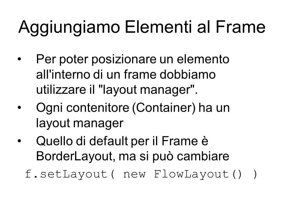 Aggiungiamo Elementi al Frame Per poter posizionare un elemento all interno di un frame dobbiamo utilizzare il layout manager .