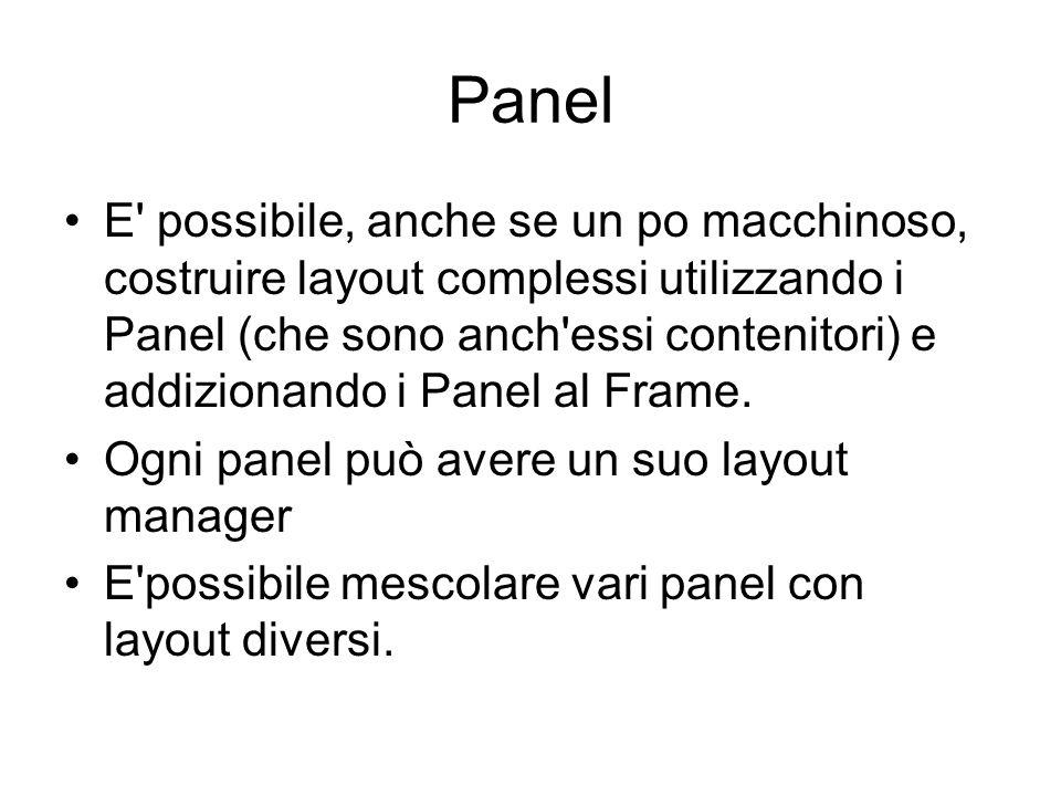 Panel E possibile, anche se un po macchinoso, costruire layout complessi utilizzando i Panel (che sono anch essi contenitori) e addizionando i Panel al Frame.