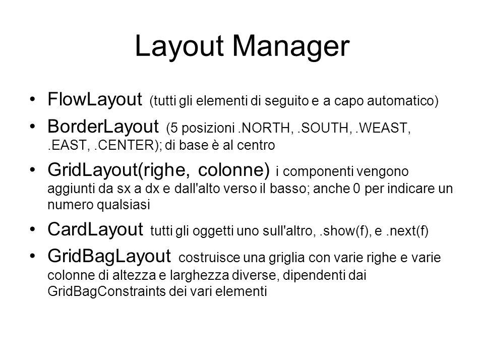 Layout Manager FlowLayout (tutti gli elementi di seguito e a capo automatico) BorderLayout (5 posizioni.NORTH,.SOUTH,.WEAST,.EAST,.CENTER); di base è al centro GridLayout(righe, colonne) i componenti vengono aggiunti da sx a dx e dall alto verso il basso; anche 0 per indicare un numero qualsiasi CardLayout tutti gli oggetti uno sull altro,.show(f), e.next(f) GridBagLayout costruisce una griglia con varie righe e varie colonne di altezza e larghezza diverse, dipendenti dai GridBagConstraints dei vari elementi