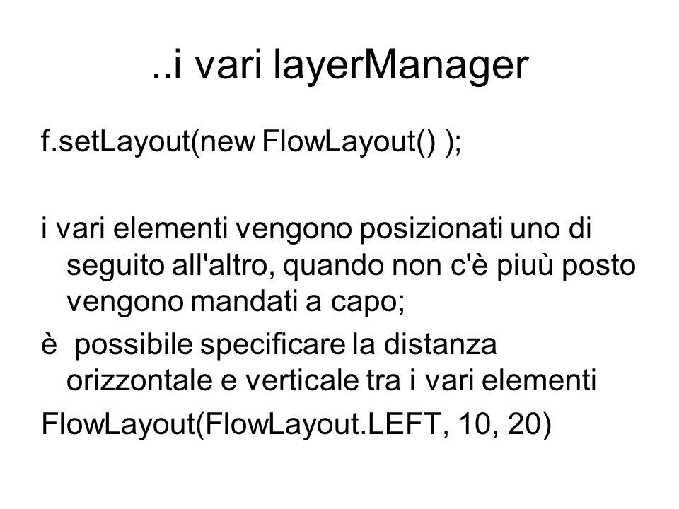 ..i vari layerManager f.setLayout(new FlowLayout() ); i vari elementi vengono posizionati uno di seguito all altro, quando non c è piuù posto vengono mandati a capo; è possibile specificare la distanza orizzontale e verticale tra i vari elementi FlowLayout(FlowLayout.LEFT, 10, 20)