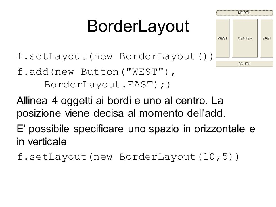 BorderLayout f.setLayout(new BorderLayout()) f.add(new Button( WEST ), BorderLayout.EAST);) Allinea 4 oggetti ai bordi e uno al centro.