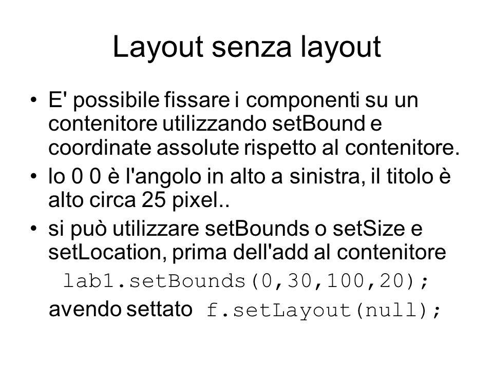 Layout senza layout E' possibile fissare i componenti su un contenitore utilizzando setBound e coordinate assolute rispetto al contenitore. lo 0 0 è l