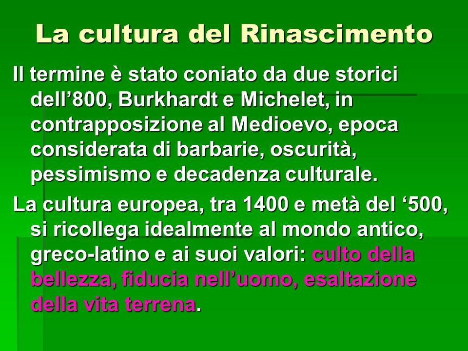 La cultura del Rinascimento Il termine è stato coniato da due storici dell'800, Burkhardt e Michelet, in contrapposizione al Medioevo, epoca considera