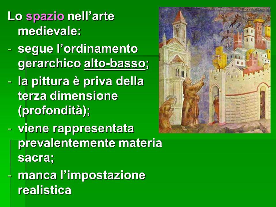 Lo spazio nell'arte medievale: -segue l'ordinamento gerarchico alto-basso; -la pittura è priva della terza dimensione (profondità); -viene rappresenta