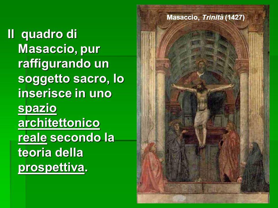 Masaccio, Trinità (1427) Il quadro di Masaccio, pur raffigurando un soggetto sacro, lo inserisce in uno spazio architettonico reale secondo la teoria