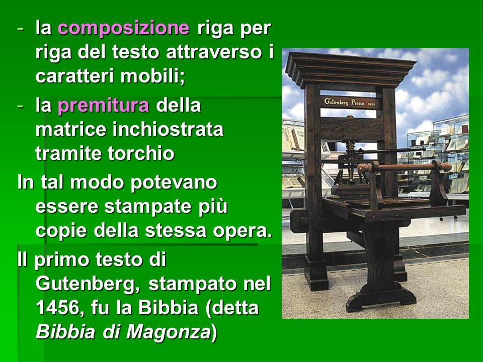 -la composizione riga per riga del testo attraverso i caratteri mobili; -la premitura della matrice inchiostrata tramite torchio In tal modo potevano