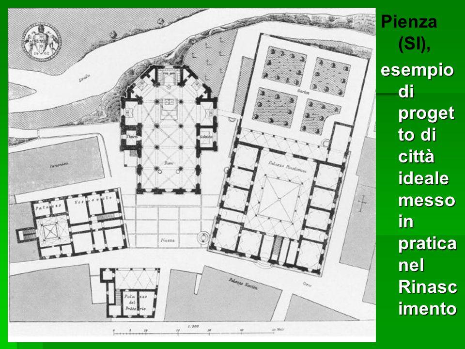 Pienza (SI), esempio di proget to di città ideale messo in pratica nel Rinasc imento