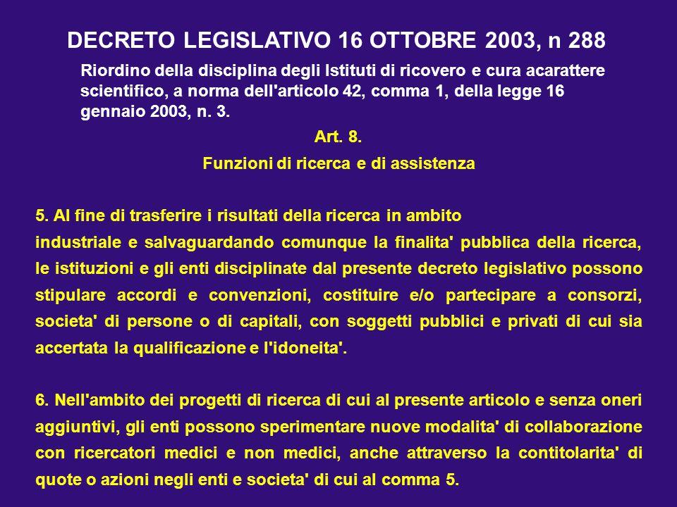 Art. 8. Funzioni di ricerca e di assistenza 5. Al fine di trasferire i risultati della ricerca in ambito industriale e salvaguardando comunque la fina