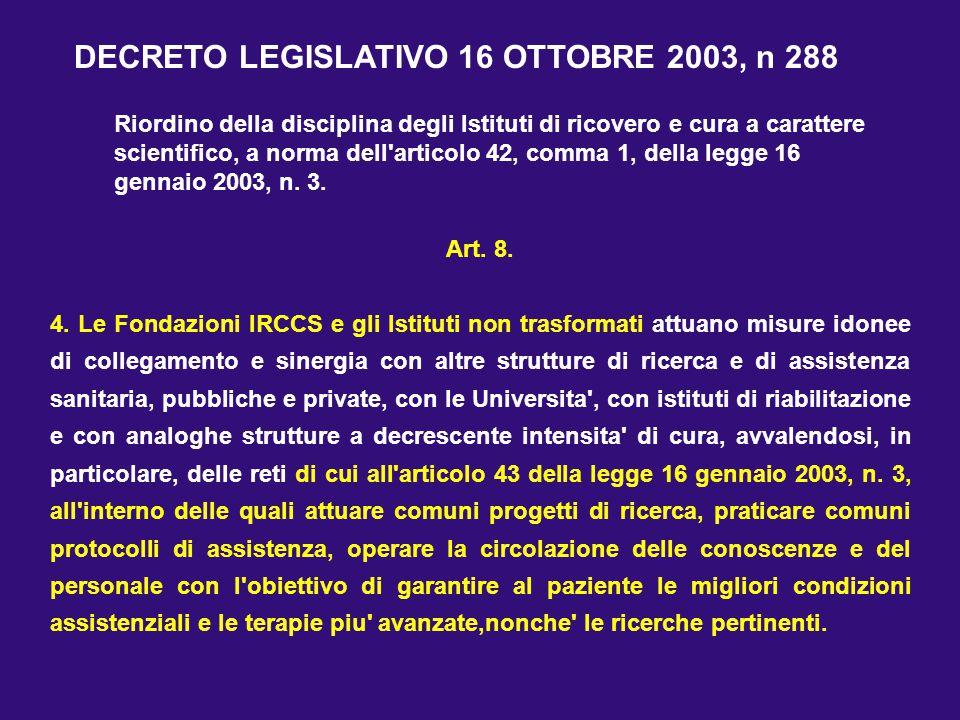 Art. 8. 4. Le Fondazioni IRCCS e gli Istituti non trasformati attuano misure idonee di collegamento e sinergia con altre strutture di ricerca e di ass