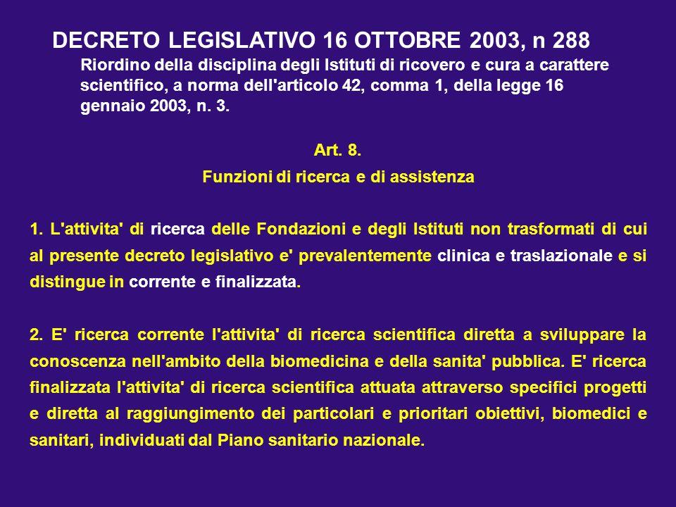 Art. 8. Funzioni di ricerca e di assistenza 1. L'attivita' di ricerca delle Fondazioni e degli Istituti non trasformati di cui al presente decreto leg