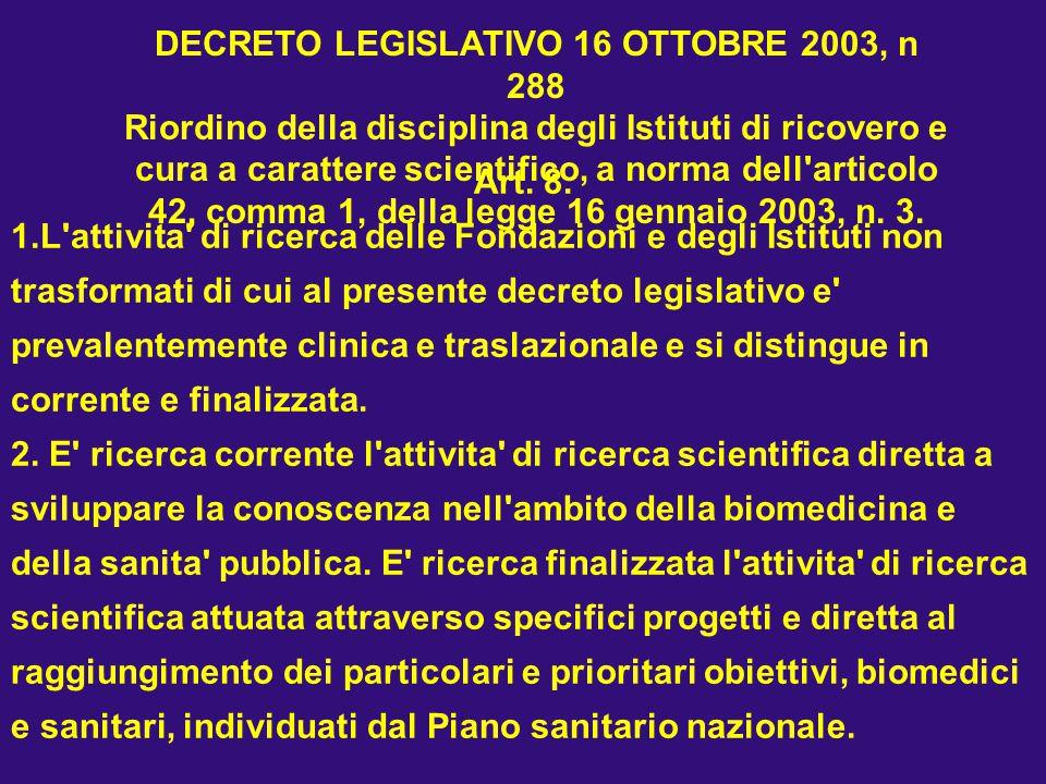 Art. 8. 1.L'attivita' di ricerca delle Fondazioni e degli Istituti non trasformati di cui al presente decreto legislativo e' prevalentemente clinica e