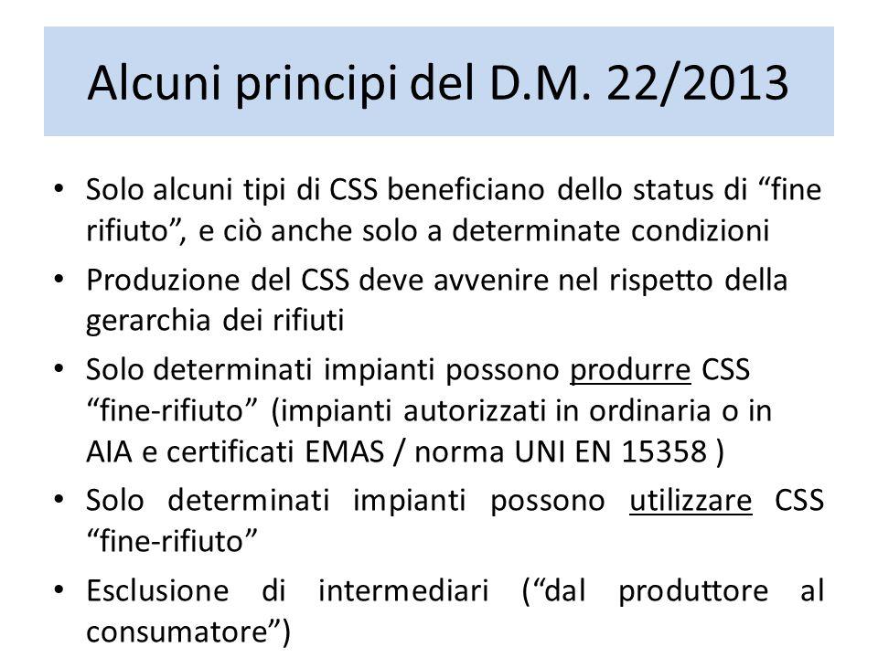 """Alcuni principi del D.M. 22/2013 Solo alcuni tipi di CSS beneficiano dello status di """"fine rifiuto"""", e ciò anche solo a determinate condizioni Produzi"""