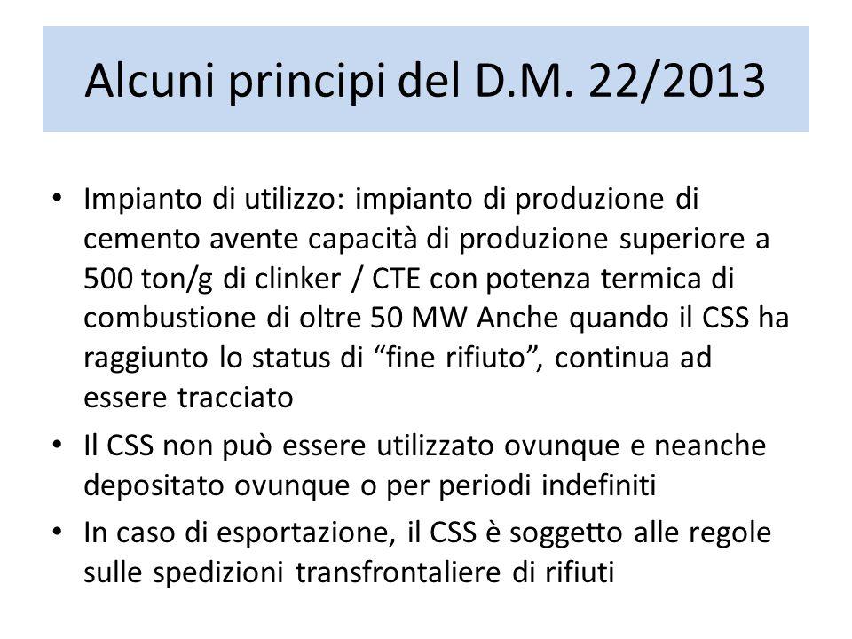 Alcuni principi del D.M. 22/2013 Impianto di utilizzo: impianto di produzione di cemento avente capacità di produzione superiore a 500 ton/g di clinke