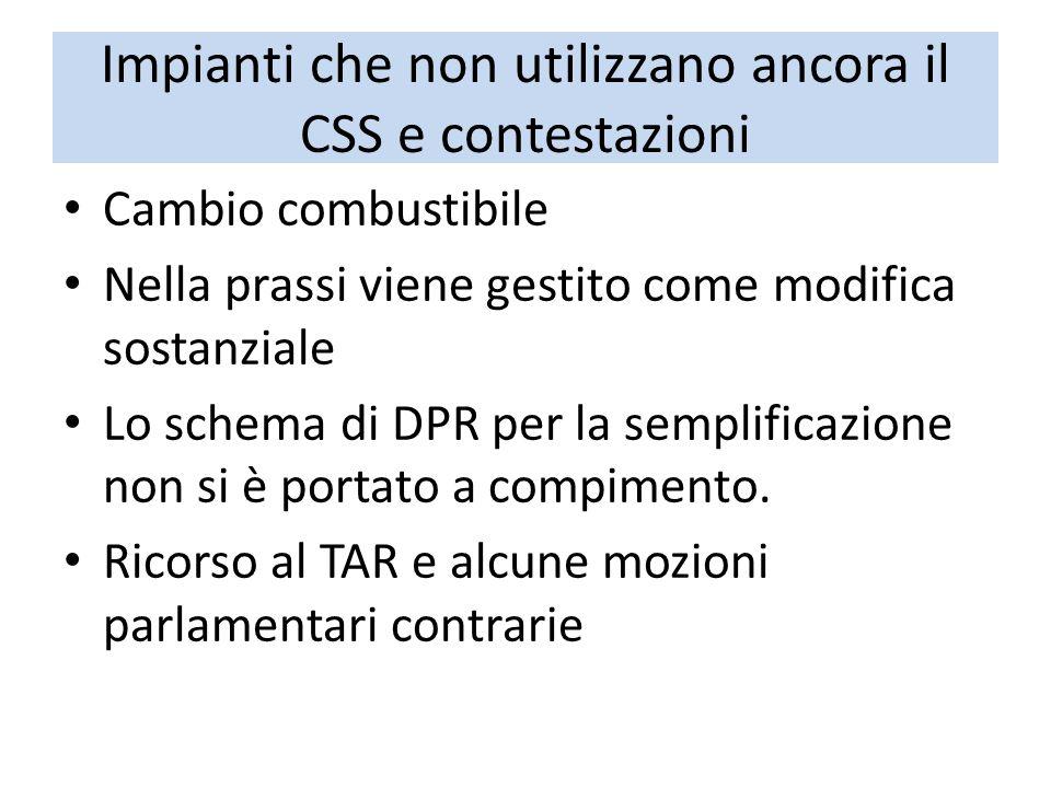 Impianti che non utilizzano ancora il CSS e contestazioni Cambio combustibile Nella prassi viene gestito come modifica sostanziale Lo schema di DPR pe