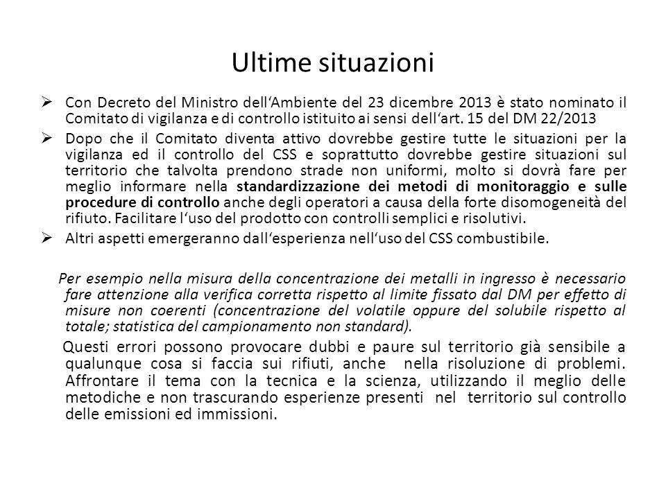 Ultime situazioni  Con Decreto del Ministro dell'Ambiente del 23 dicembre 2013 è stato nominato il Comitato di vigilanza e di controllo istituito ai