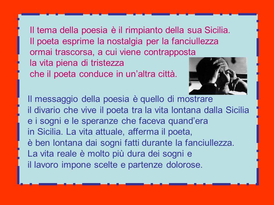 Il tema della poesia è il rimpianto della sua Sicilia. Il poeta esprime la nostalgia per la fanciullezza ormai trascorsa, a cui viene contrapposta la