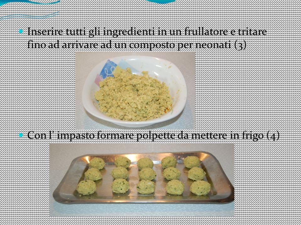 Inserire tutti gli ingredienti in un frullatore e tritare fino ad arrivare ad un composto per neonati (3) Con l' impasto formare polpette da mettere i
