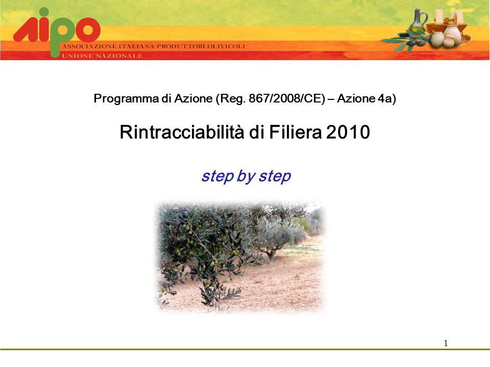 1 Programma di Azione (Reg. 867/2008/CE) – Azione 4a) Rintracciabilità di Filiera 2010 step by step