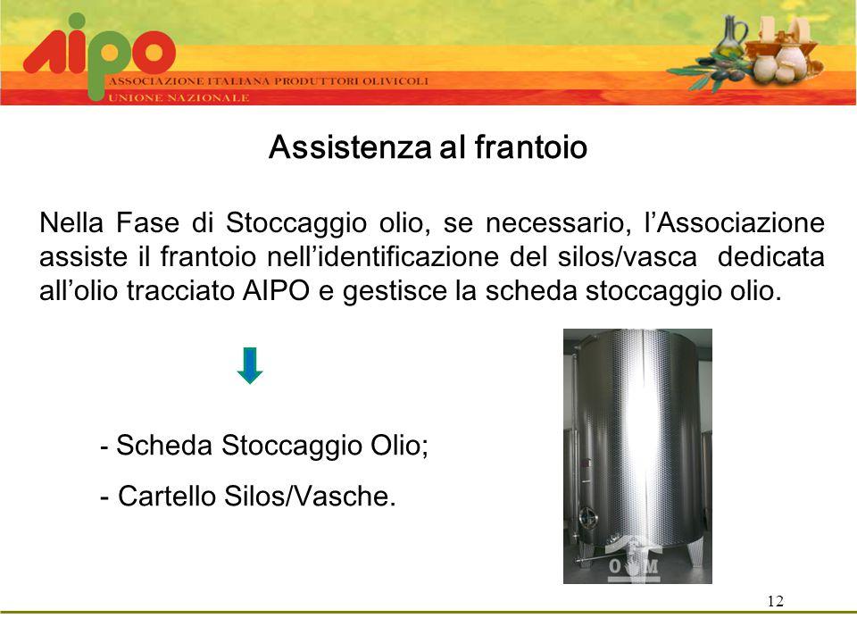 12 Assistenza al frantoio Nella Fase di Stoccaggio olio, se necessario, l'Associazione assiste il frantoio nell'identificazione del silos/vasca dedicata all'olio tracciato AIPO e gestisce la scheda stoccaggio olio.
