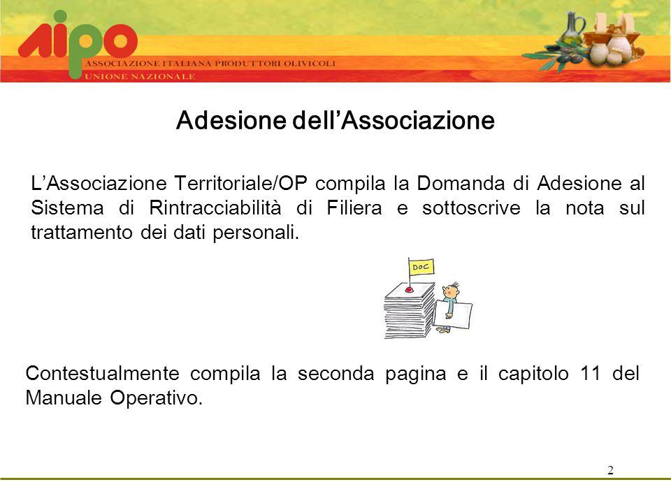 2 Adesione dell'Associazione L'Associazione Territoriale/OP compila la Domanda di Adesione al Sistema di Rintracciabilità di Filiera e sottoscrive la nota sul trattamento dei dati personali.