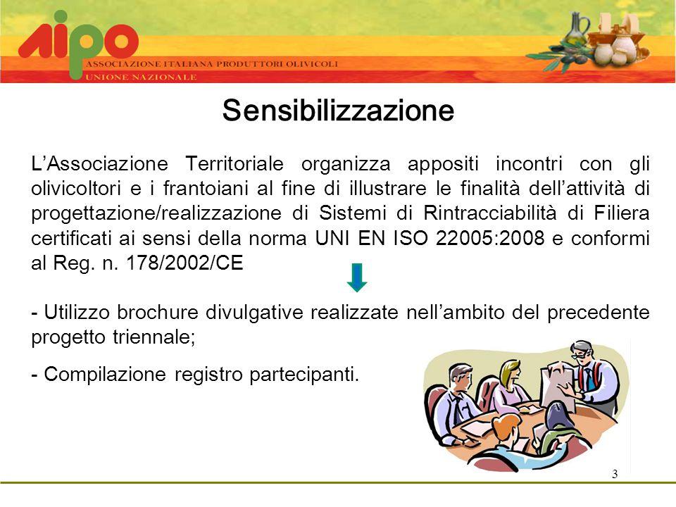3 Sensibilizzazione L'Associazione Territoriale organizza appositi incontri con gli olivicoltori e i frantoiani al fine di illustrare le finalità dell'attività di progettazione/realizzazione di Sistemi di Rintracciabilità di Filiera certificati ai sensi della norma UNI EN ISO 22005:2008 e conformi al Reg.