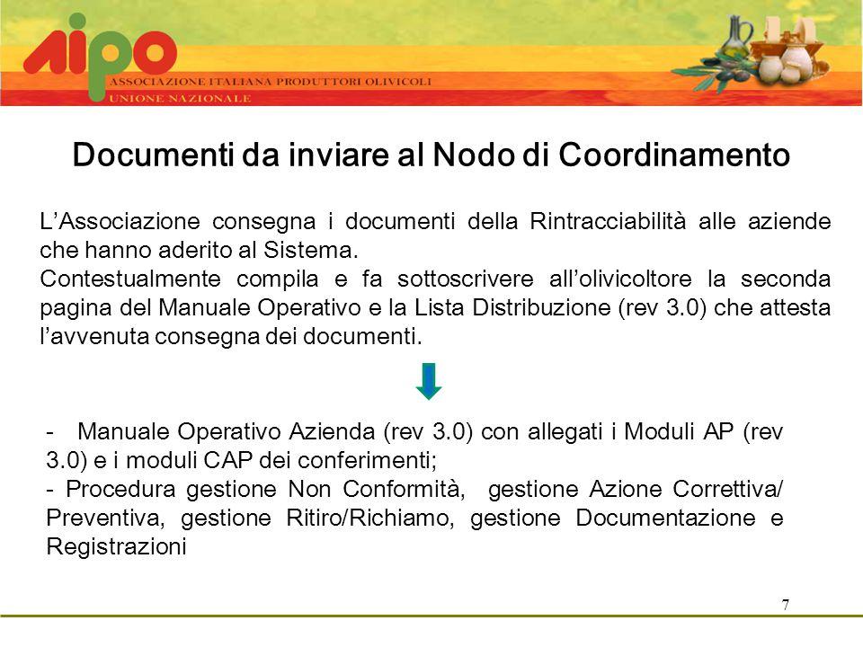 7 Documenti da inviare al Nodo di Coordinamento L'Associazione consegna i documenti della Rintracciabilità alle aziende che hanno aderito al Sistema.