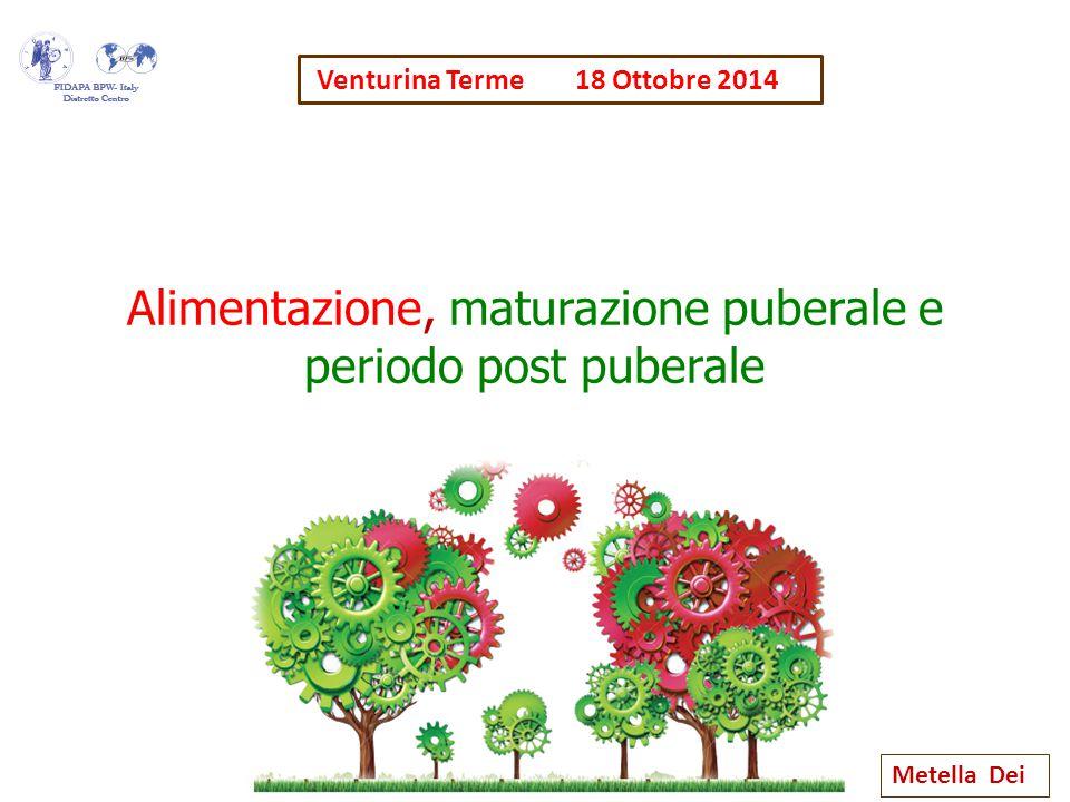 Alimentazione, maturazione puberale e periodo post puberale Metella Dei Venturina Terme 18 Ottobre 2014