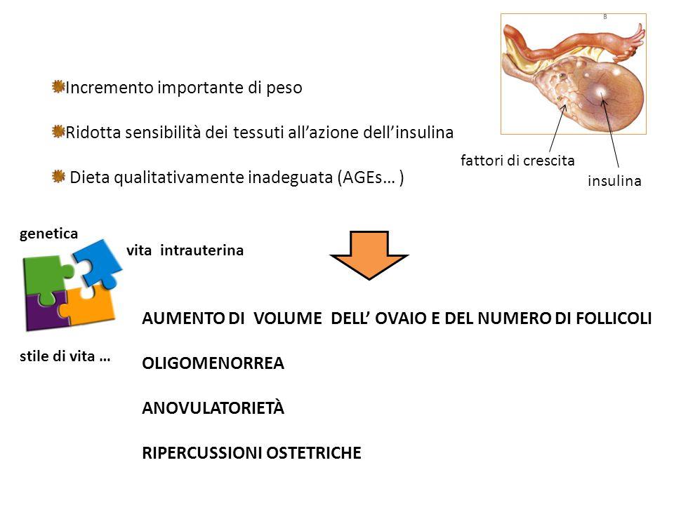 AUMENTO DI VOLUME DELL' OVAIO E DEL NUMERO DI FOLLICOLI OLIGOMENORREA ANOVULATORIETÀ RIPERCUSSIONI OSTETRICHE Incremento importante di peso Ridotta sensibilità dei tessuti all'azione dell'insulina Dieta qualitativamente inadeguata (AGEs… ) insulina fattori di crescita genetica vita intrauterina stile di vita …