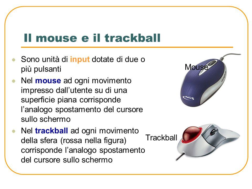 I tasti della tastiera Tasti cursore Barra spaziatrice Tabulatore Invio Backspace e Canc Fissa maiuscolo Maiuscolo/Shift Tastiera numerica Tastiera funzionale ALT CTRL Suddivisione dei principali tasti di una tastiera generica