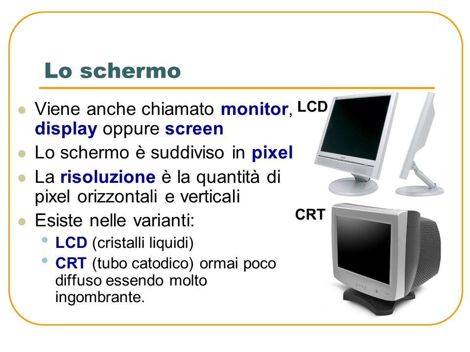 Lo scanner Digitalizzatore di immagini Trasforma una immagine in un file Trasforma anche un testo scritto in un file con appositi software OCR (Optical Character Recognition).