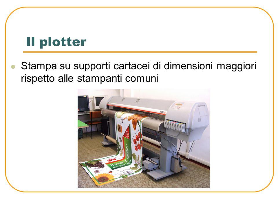 La stampante La risoluzione di stampa (DPI) è la densità di puntini stampabili in un pollice (circa 2,5 cm) La velocità si misura in pagine al minuto (PPM) Esiste nelle varianti: Laser getto di inchiostro (ink jet) aghi, anche se queste ultime sono oramai poco diffuse.