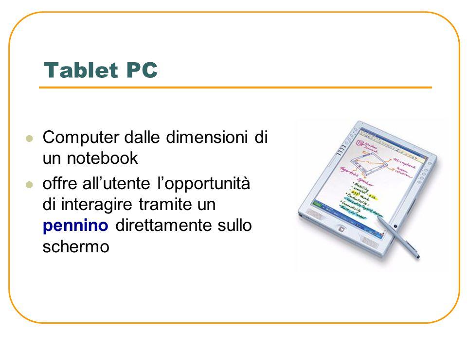 PDA (Personal Digital Assistant) Sono computer dalle ridotte dimensioni e capacità di memoria Sono tascabili, ma con le stesse caratteristiche dei computer più grandi