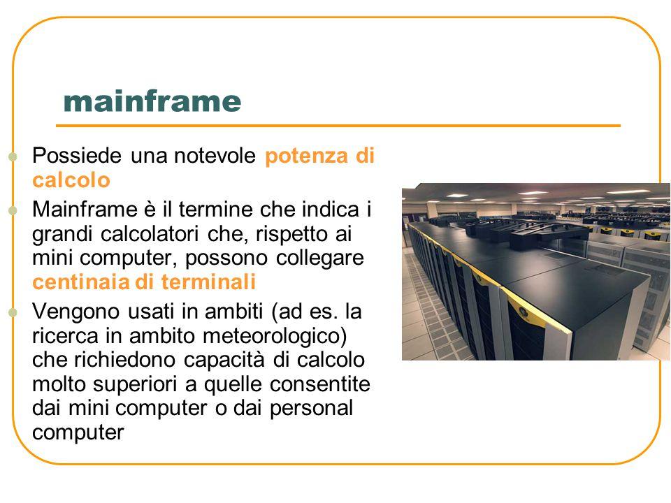Mini computer Permette di collegare la stessa unità centrale a più utenti, collegati ad essa tramite particolari interfacce composte da monitor e tastiere chiamate terminali.