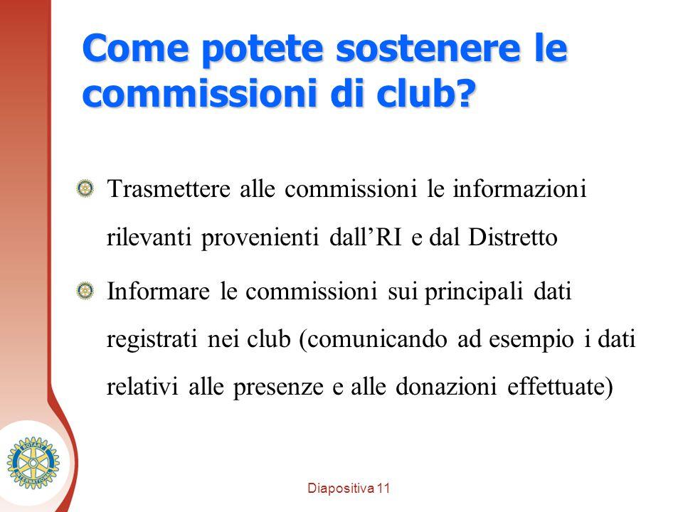 Diapositiva 11 Distretto XXXX Come potete sostenere le commissioni di club.