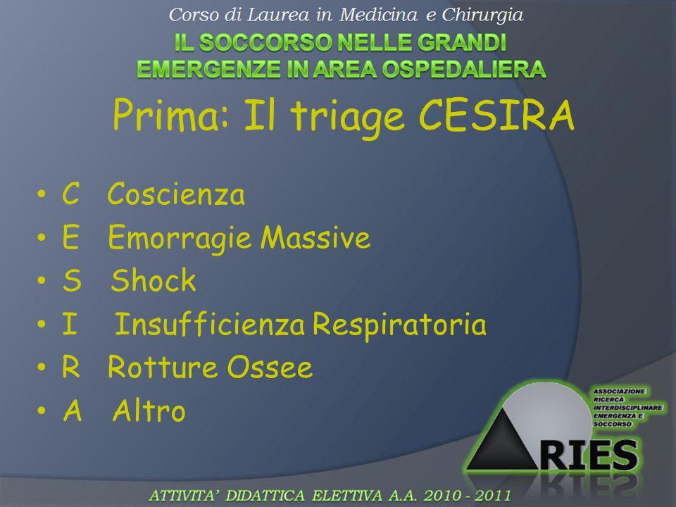 Prima: Il triage CESIRA C Coscienza E Emorragie Massive S Shock I Insufficienza Respiratoria R Rotture Ossee A Altro