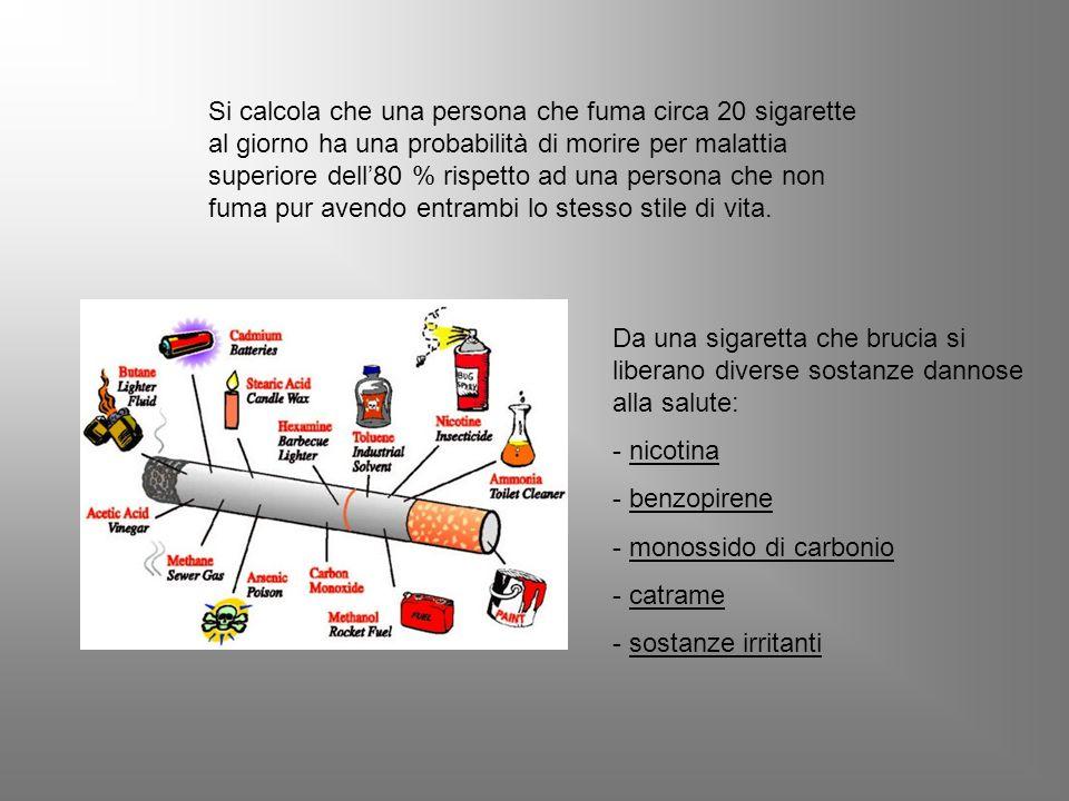 Si calcola che una persona che fuma circa 20 sigarette al giorno ha una probabilità di morire per malattia superiore dell'80 % rispetto ad una persona che non fuma pur avendo entrambi lo stesso stile di vita.